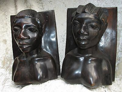 African Tribal Bookends Statues Busts  H/Carved Wood Man Woman Vintage Estate