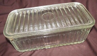 Antique Ribbed Glass Refrigerator Food Meat Lidded Dish Canister Kitchenalia