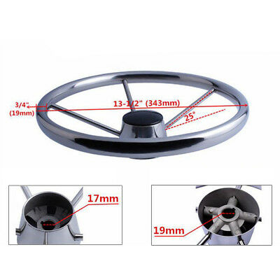 Brand Marine 13-1/2'' Boat Steering Wheel Stainless Steel Mirror Polish 5 Spoke