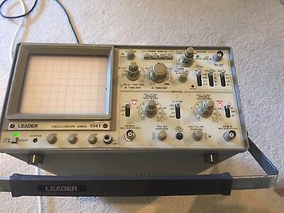 Leader 40 Mhz Dual Trace Oscilloscope 2 Channel 5 V/MV Vertical Model 1041