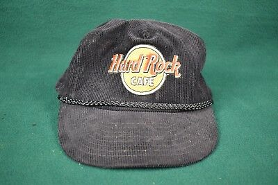Vintage Hard Rock Corduroy Trucker Hat - Black Strapback and Braid - Preowned