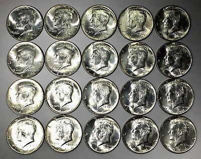 1 Roll (20) 1964 Kennedy Half Dollars - BU Uncirculated ~ 90% Silver Coin Lot #2