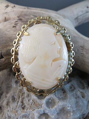 Estate Vintage Pink Shell Cameo Maiden Lady Goldtone Filigree Brooch Pin  #227