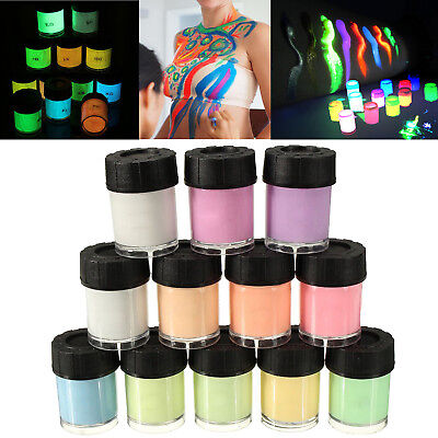 Fluorescent Face and Body Paint Glow Kit Body Pigments Set 12 Colors for Party