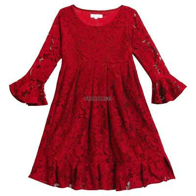 Arshiner Kids Girls  Long Sleeve Pleated Lace Dress Party Suspender Skirts