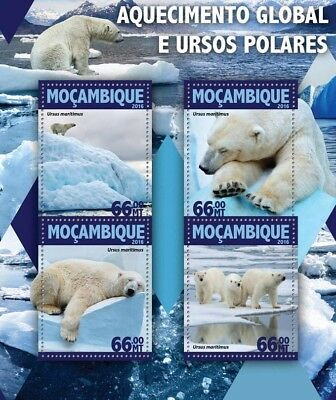 Mozambique 2016 MNH Polar Bears & Global Warming 4v M/S Wild Animals Stamps