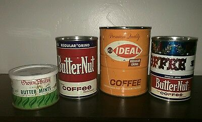 VTG 4 Various Butter-Nut Coffee Cans *Nice Brighr Graphic 6.75- 5.75