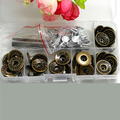 Metal Jeans Button Tack Buttons Snap Fastener Press Studs Replacement Repair Kit