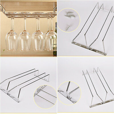 1/2/3 Rows Wine Glass Under Cabinet Rack Holder Shelf Hanger Stemware Bar Dining