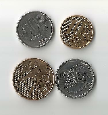 Brazil 4 different coins, 10 & 25 Centavos varieties