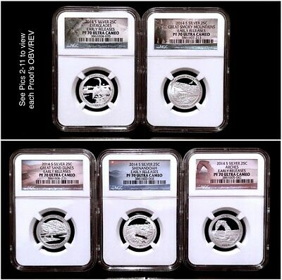 2014-S Silver ATB NP Quarter 5-Coin Proof Set NGC PF-70 UCAM Early Releases