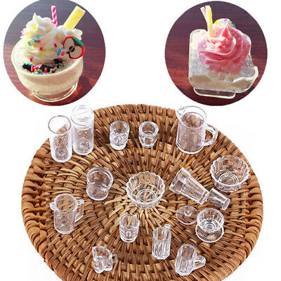 15PCS 1:12 Scale Doll House Tableware Plate Cup / Dish / Bowl Set