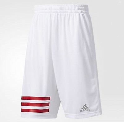 Adidas Men's MM 3 Stripe 2.0 Basketball Shorts White/Red X-Large XL