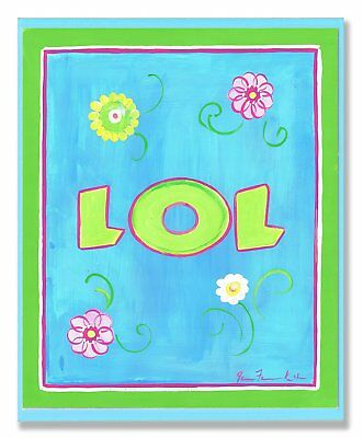 The Kids Room by Stupell LOL with Flowers on Blue Rectangle Wall Plaque
