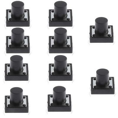 10x Bouton-Poussoir Interrupteur Tactile Push Button 4 Broche 12x12x10mm PCB