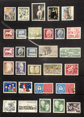 Selection of used stamps from Sweden 1971-73