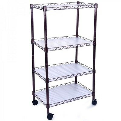 4 Tiers Adjustable Wire Metal Shelving Rack with Casters Storage Home Kitchen