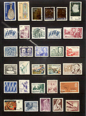 Selection of used stamps from Sweden 1975-76