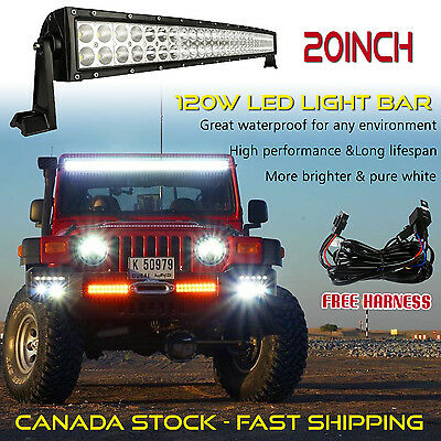 20inch Curved LED Light Bar Off road Truck Driving Fog 4WD SUV ATV Ford Jeep 24