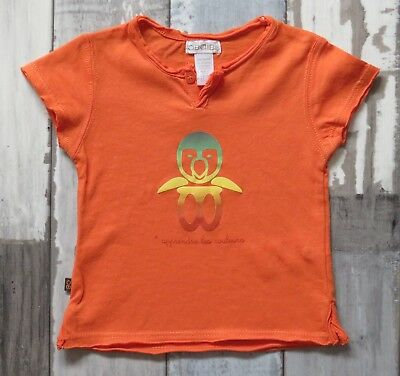 ~ Tee-shirt MC orange OBAIBI Taille 1 mois ~ TBE
