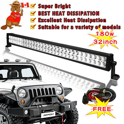 30INCH 180W Combo LED Work Light Bar Flood Spot Beam Aluminum alloy Metal 32""