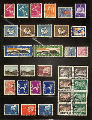 Selection of used stamps from Sweden 1967-68