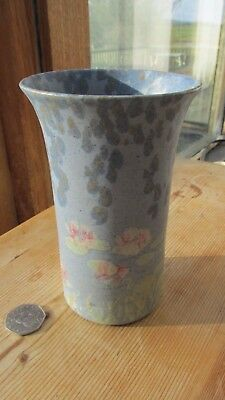 Conwy Pottery Vase Blues like Monet water lillies vintage pretty straight side