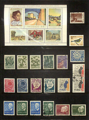 Selection of used stamps from Sweden 1967-69