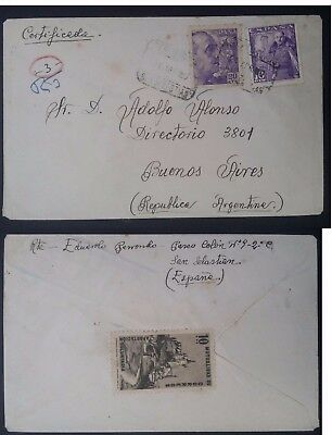 RARE 1950 Spain Cover ties 2 Franco stamps& Voluntary Charity stamp to Argentina