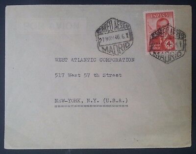 RARE 1946 Spain Cover ties 4 Pts Carlos Haya Gonzalez stamp canc Madrid to NY
