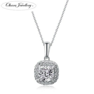 18K White Gold Plated Cubic Zirconia CZ Bridal Chain Pendant Necklace Jewellery
