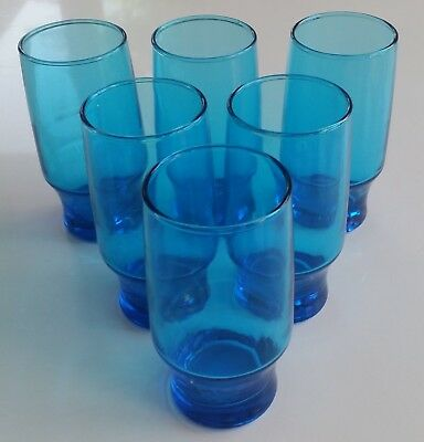 6 x RETRO/VINTAGE BLUE DRINKING GLASSES MADE OF GLASS FROM APPROX 1960S