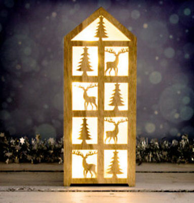 Wooden Decorative House with 10 LED Lights