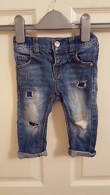 Next Baby Boy Blue Ripped Jeans  6 To 9 Months Adjustable Waist Free Uk P&p