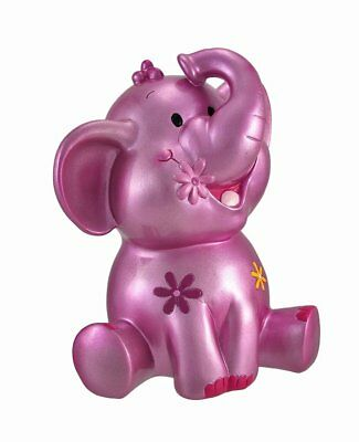 Resin Toy Banks Metallic Pink Elephant Coin Bank With Flower Accents 9.25 X X #