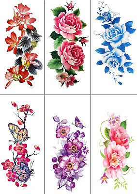 High Quality Supreme Temporary Fake Tattoo Flower Rose Party Sticker Body Art