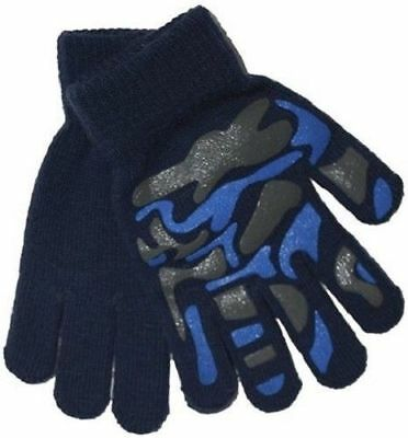 Boys Girls Kids Children's Blue Camouflage Warm Winter Grippy Magic Gloves Xmas