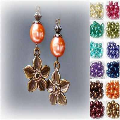 Earrings Vintage style bronze flower charm, 12 color choice, clip on or pierced