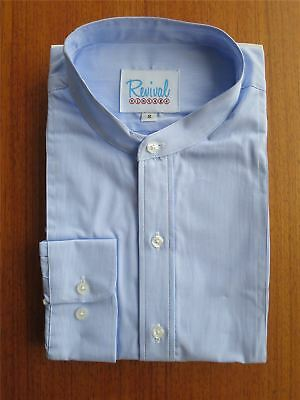 1930s 40s Peaky Blinders Vintage Style Collarless Fine Stripe Shirt 100% Cotton