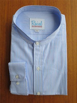 1930s 40s Peaky Blinders Vintage Style Collarless Stripe Blue Shirt 100% Cotton