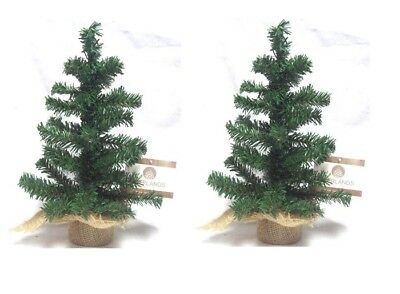 2 x Small Table Top Centerpiece Artificial Christmas Tree With Hessian Base 35CM