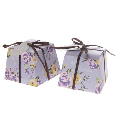 50x Flower Trapezoid Candy Boxes Wedding Engagement Party Gift Favor Purple