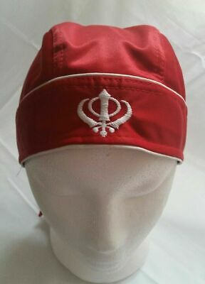 Sikh Punjabi turban Jean patka pathka Khanda bandana Head Wrap Red Colour Singh