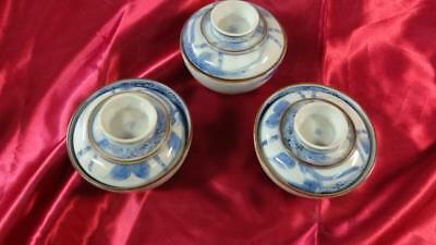Japanese antique tea bowl with lid 3 pieces diameter about 11 cm From japan EMS