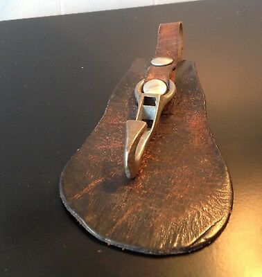 Vintage Military Leather Metal Belt Hook