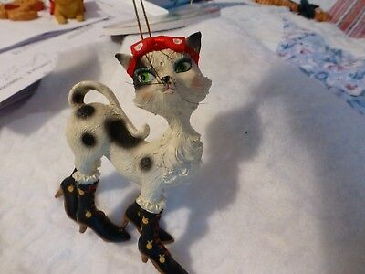 Fancy Cat Christmas Ornament Xmas Cat Figurine Puss In Boots So Cute