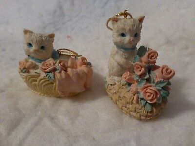 2 Vintage Adorable Cat Or Kitten Hanging Christmas Ornaments White Cat Figurines
