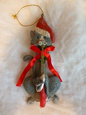 Adorable Cat And Mouse Hanging Christmas Ornament Grey Cat Figurine