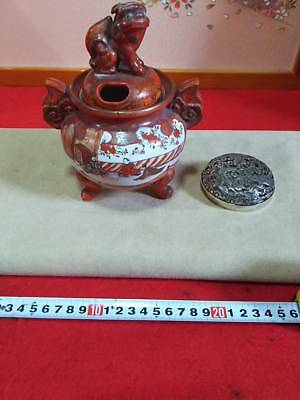 Japanese Antique Kutani Ware Burning Furniture Picture Scroll with Silver Burner