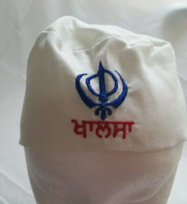 Sikh Punjabi White Kids Infants baby patka pathka Khanda bandana Head Wrap Gear